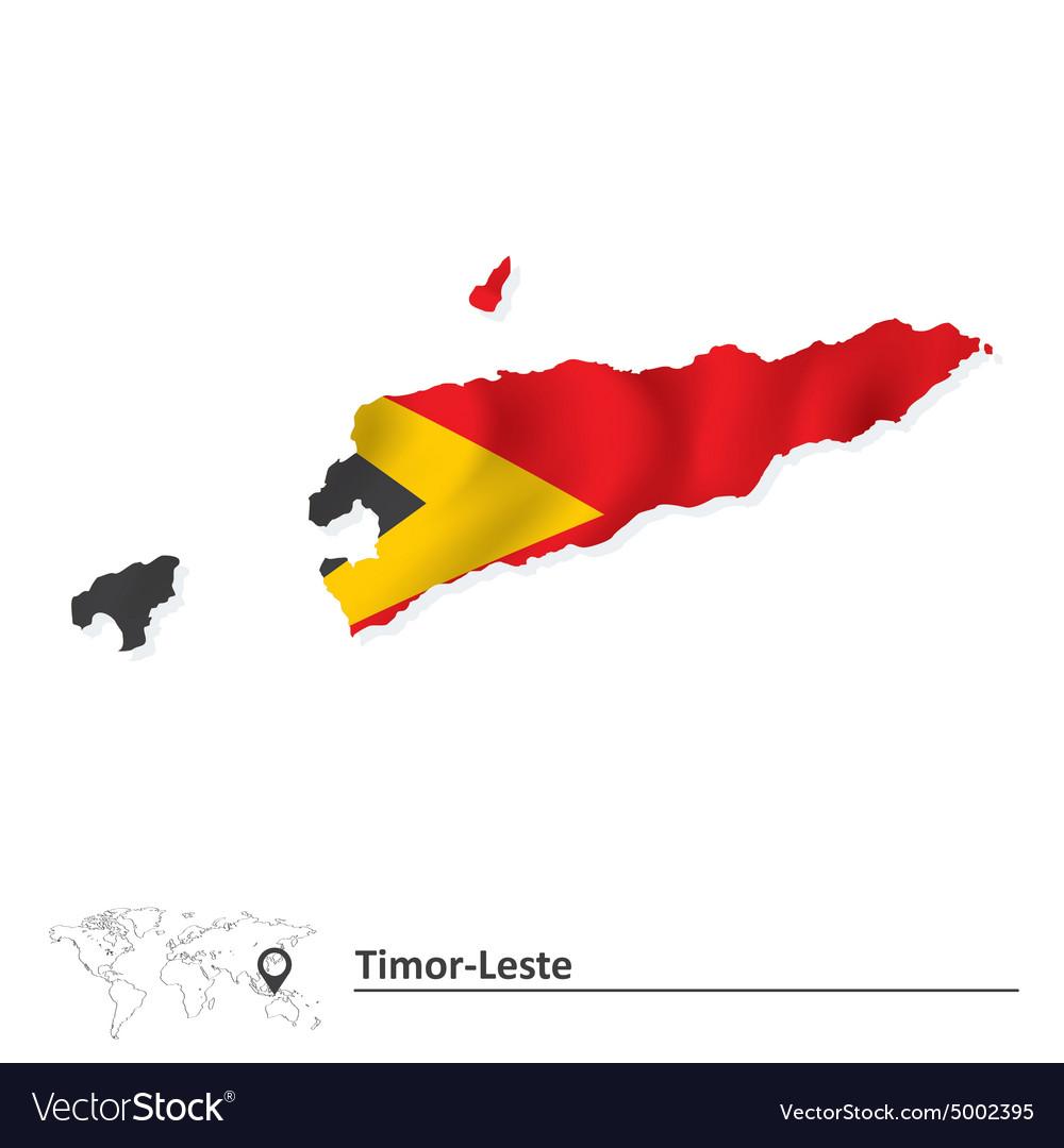Map Of TimorLeste With Flag Royalty Free Vector Image - East timor seetimor leste map vector
