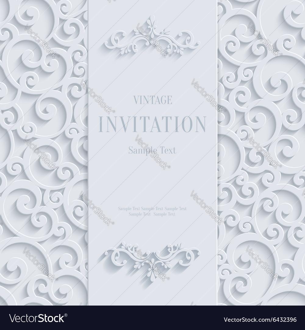 White 3d vintage invitation card with swirl vector image stopboris Choice Image