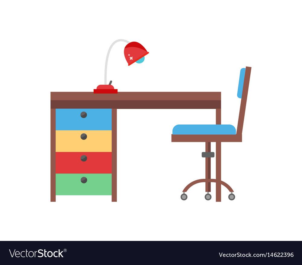 Workplace cozy baby room decor children bedroom vector image