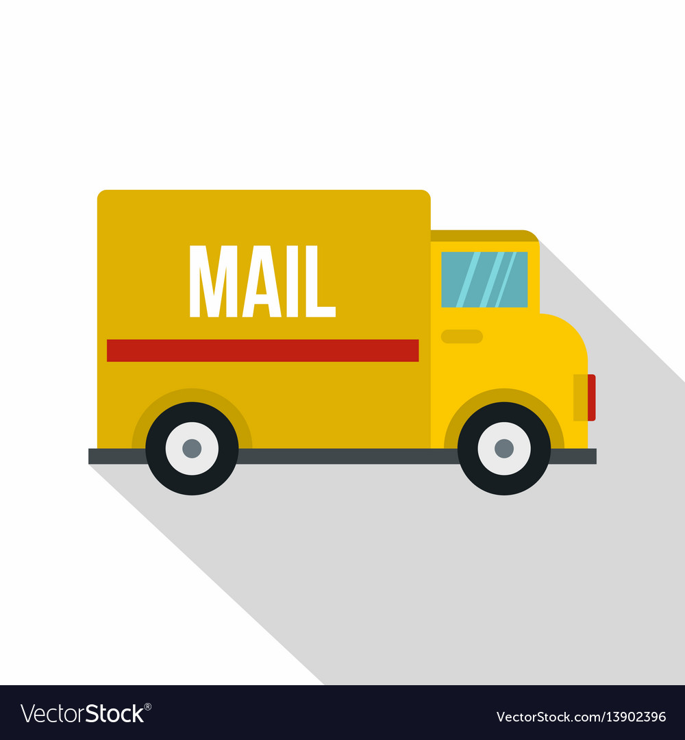 Yellow Mail Truck Icon Flat Style Royalty Free Vector Image