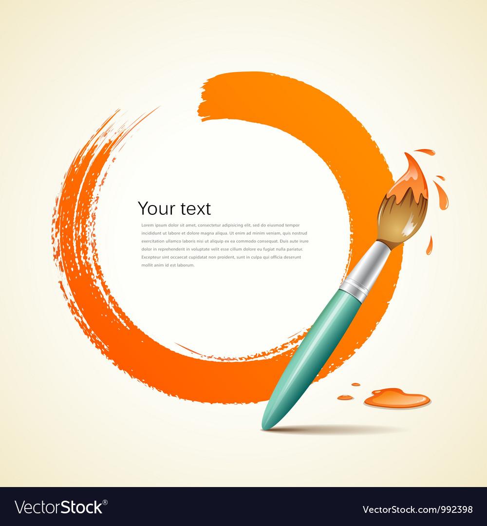 Paint brush orange background vector image