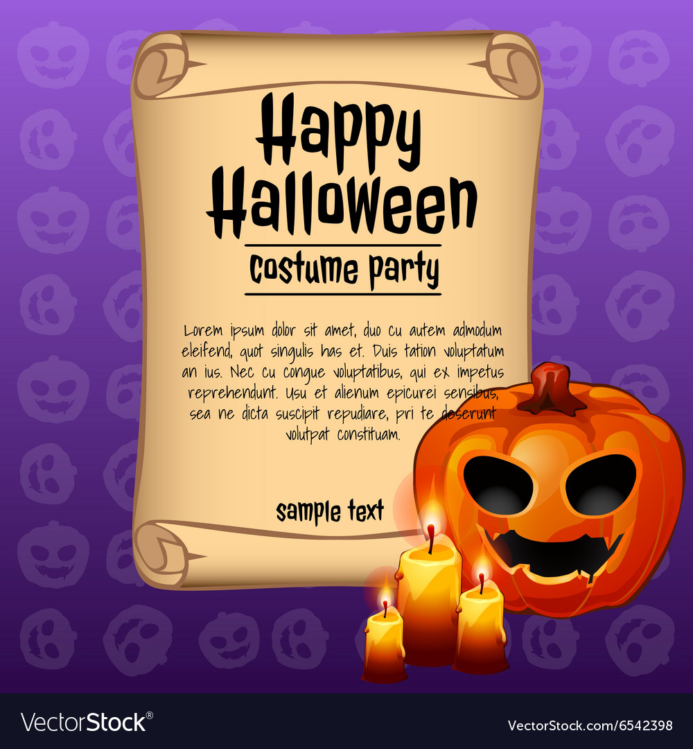 Banner happy Halloween and pumpkin with candles vector image