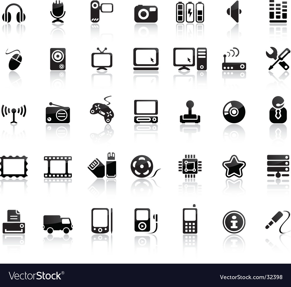 Video and audio icon set vector image