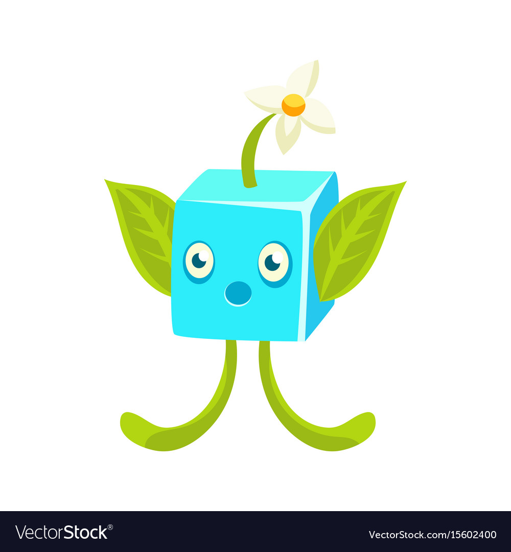 Cute fantastic plant character square shape vector image