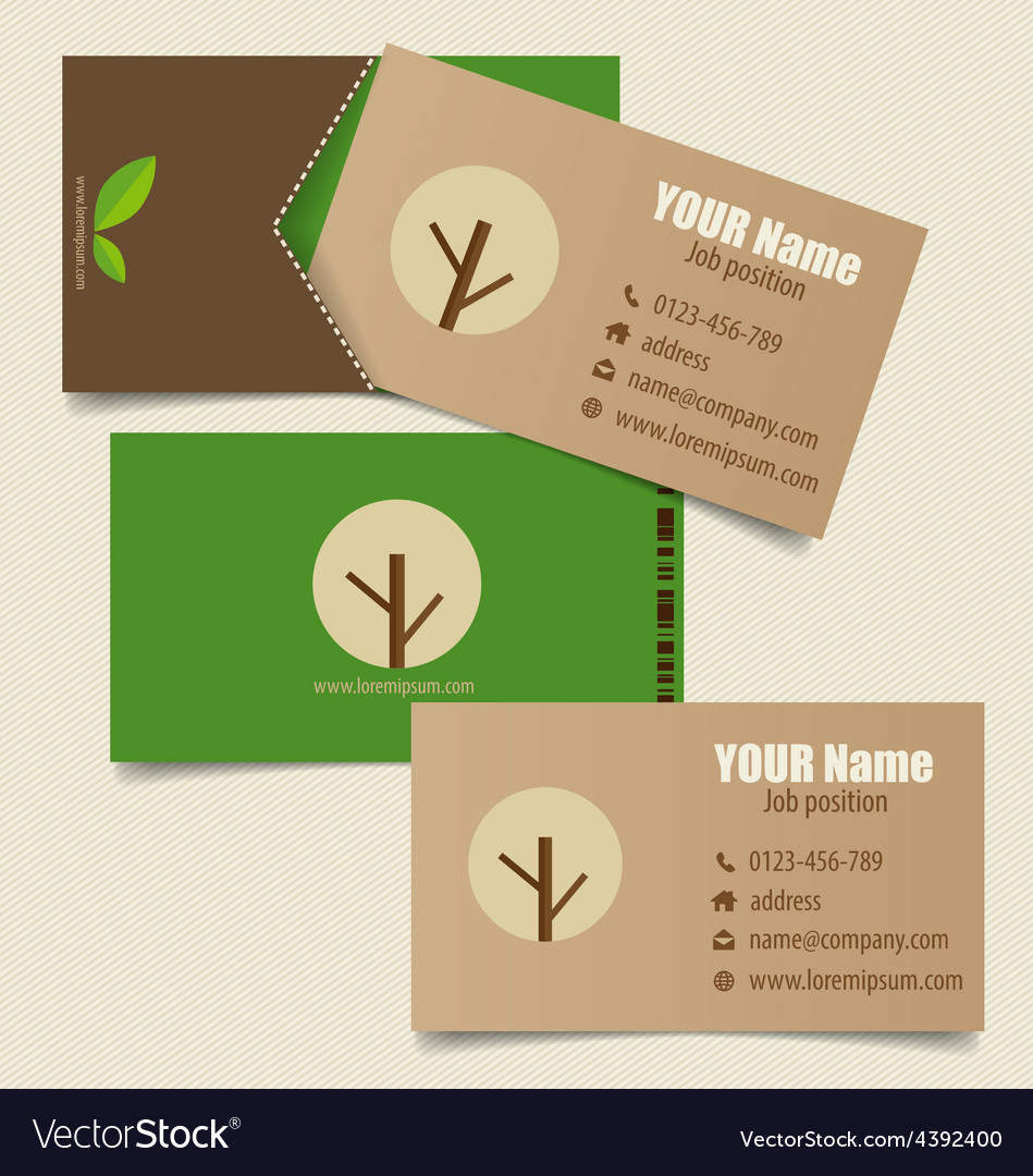 Modern business card template with nature vector image wajeb Images