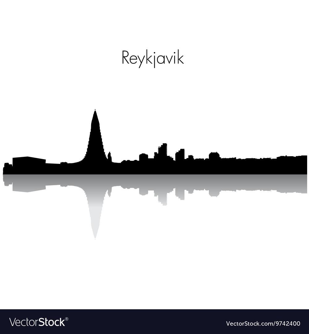 Reykjavik skyline silhouette vector image