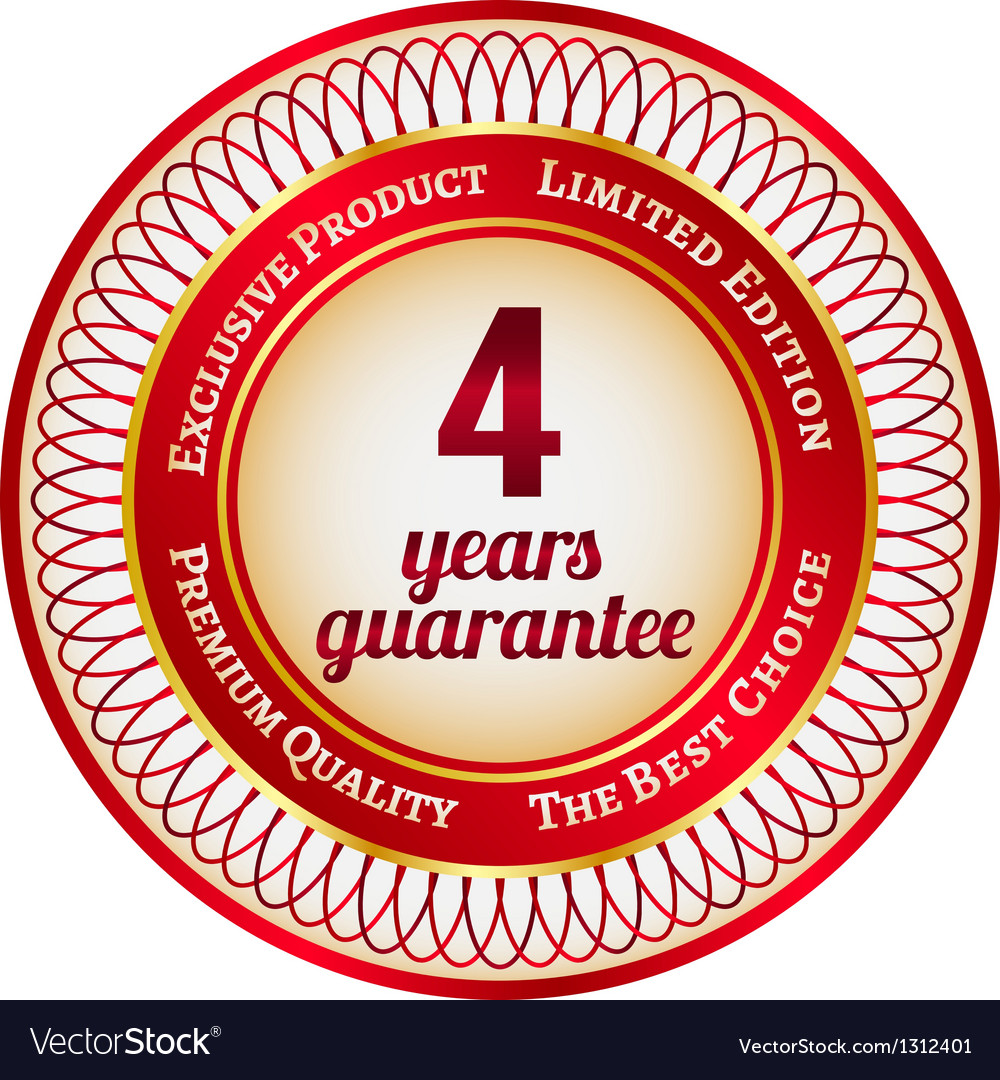 Label on 4 year guarantee vector image
