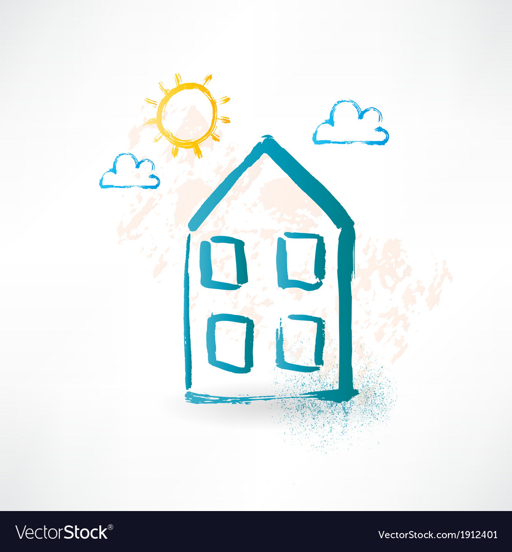 Blue cartoon two-storied house Brush icon vector image