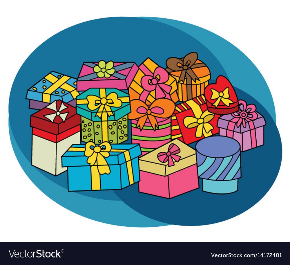 Christmas gift boxes design set vector image