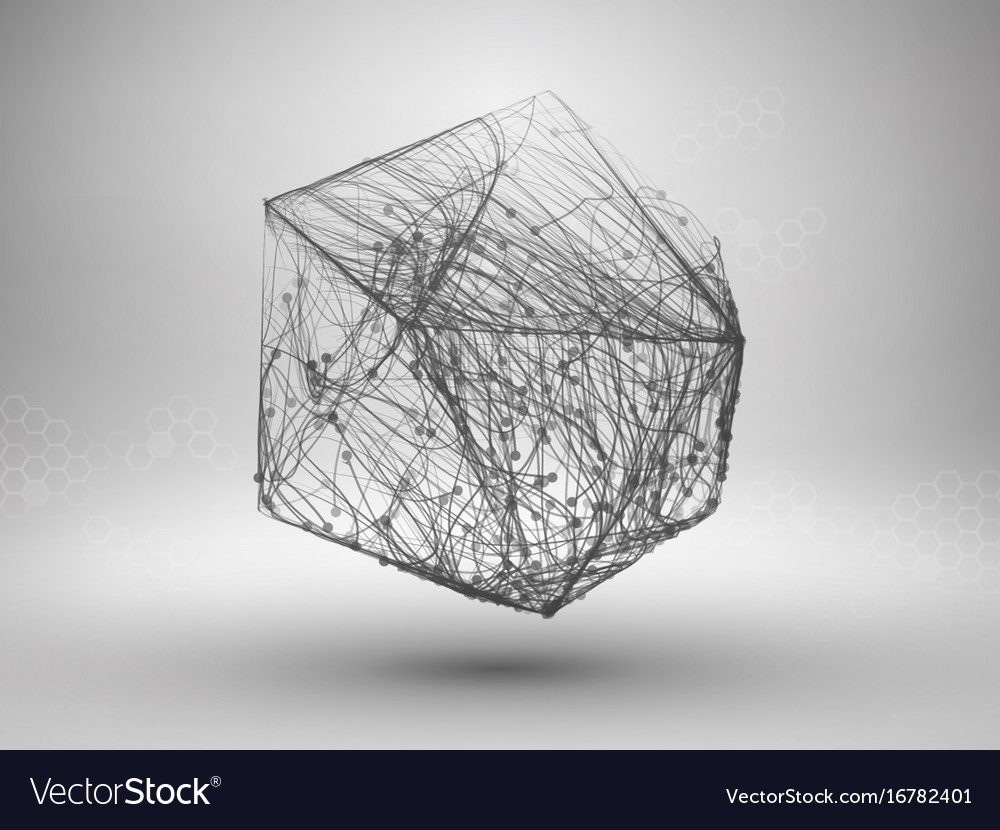 Drawing With Lines And Dots : Icosahedron with connected lines and dots vector image
