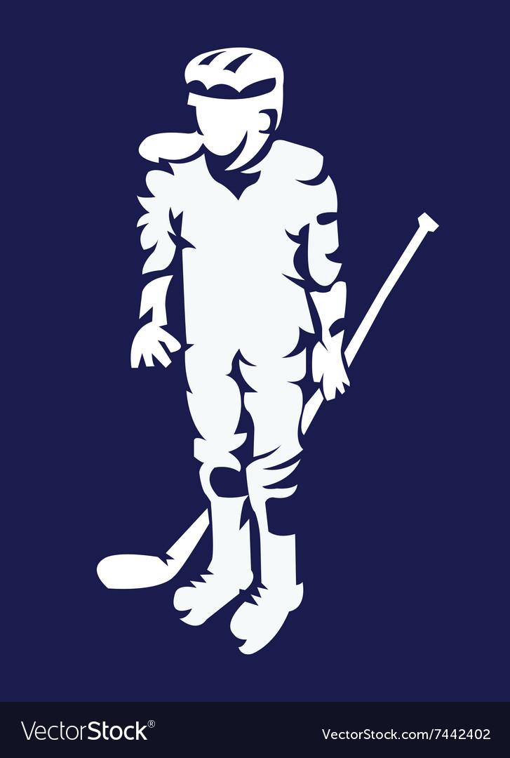 Hockey Player Mascot Silhouette vector image