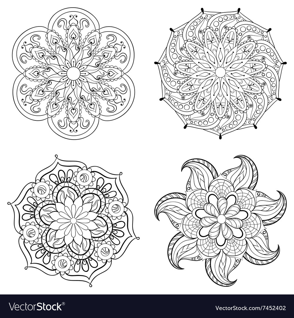 Zentangle stylized tribal Arabic Indian Mandala vector image