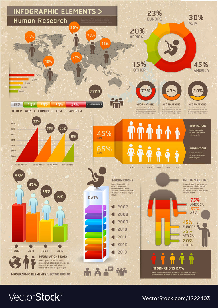 Retro Color Infographics People Elements Vector Image