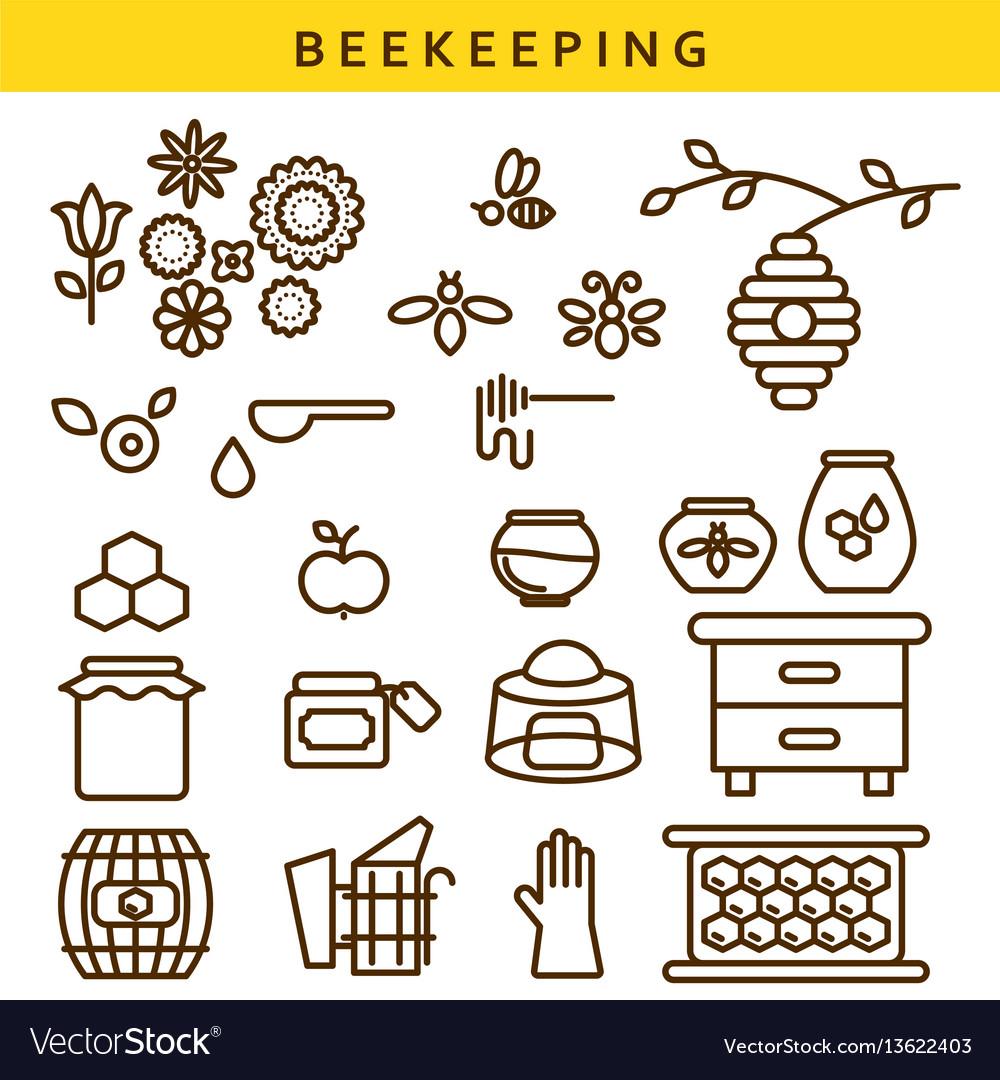 Beekeeping line icon set vector image