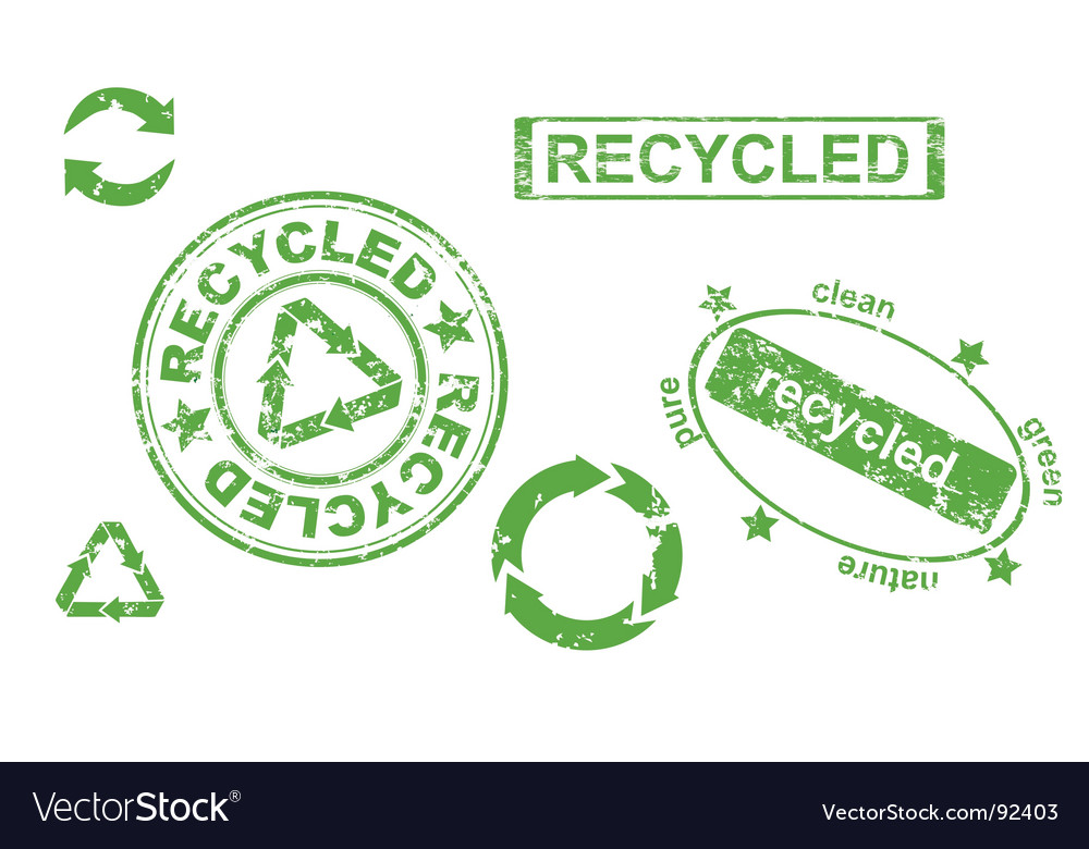 Grunge recycled symbols and stamps vector image
