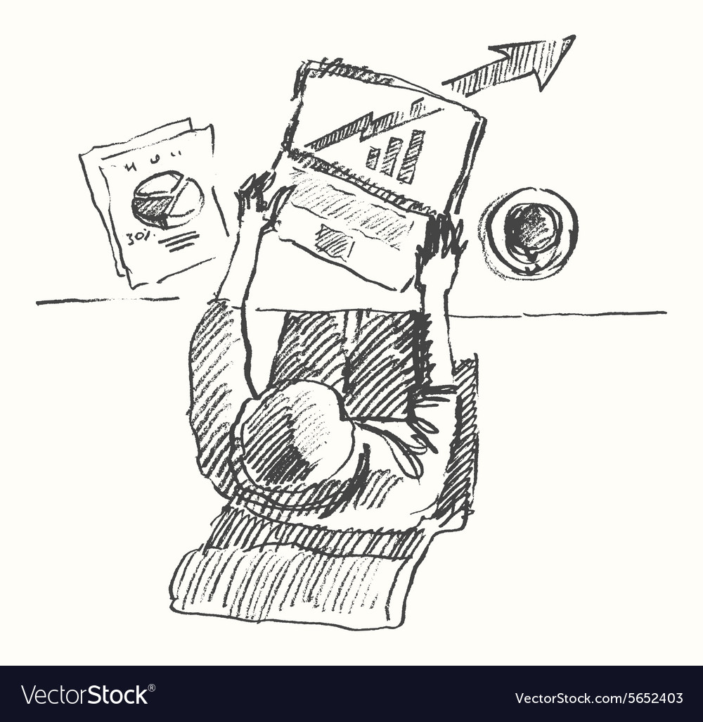Sketch man computer office work drawn top view vector image
