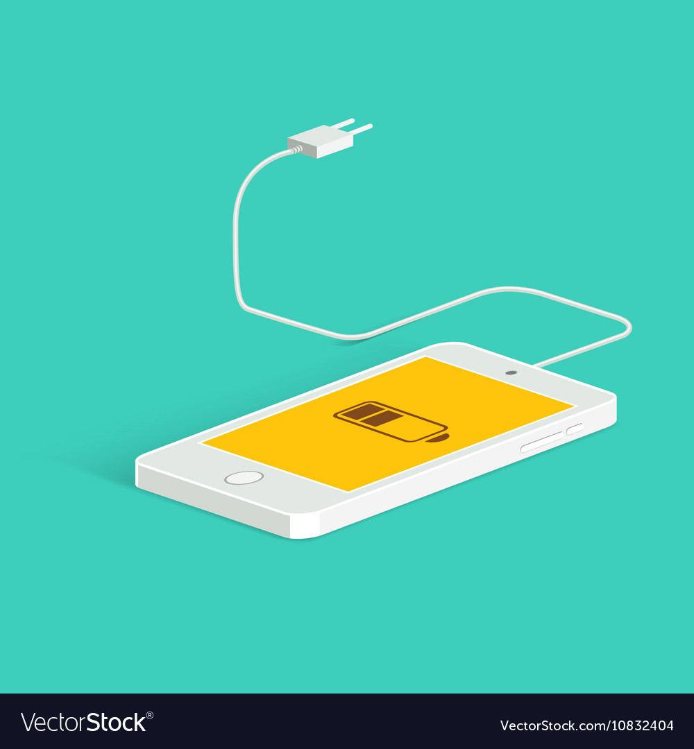 Flat image of phone cable and charger vector image