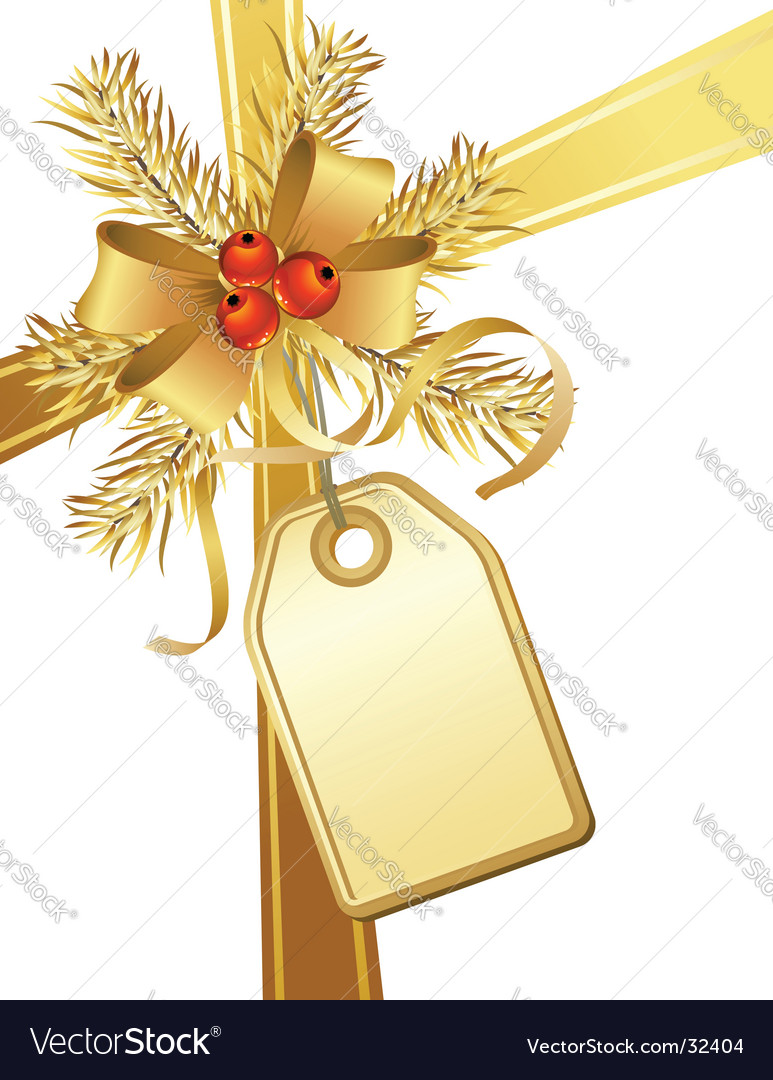 Golden christmas bow and tag vector image