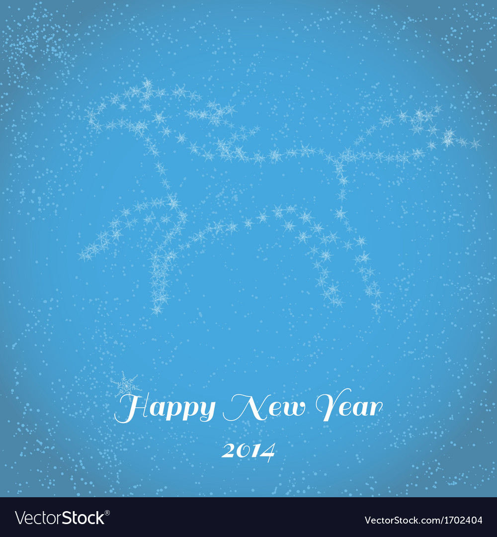 New Year greeting card with running horse vector image