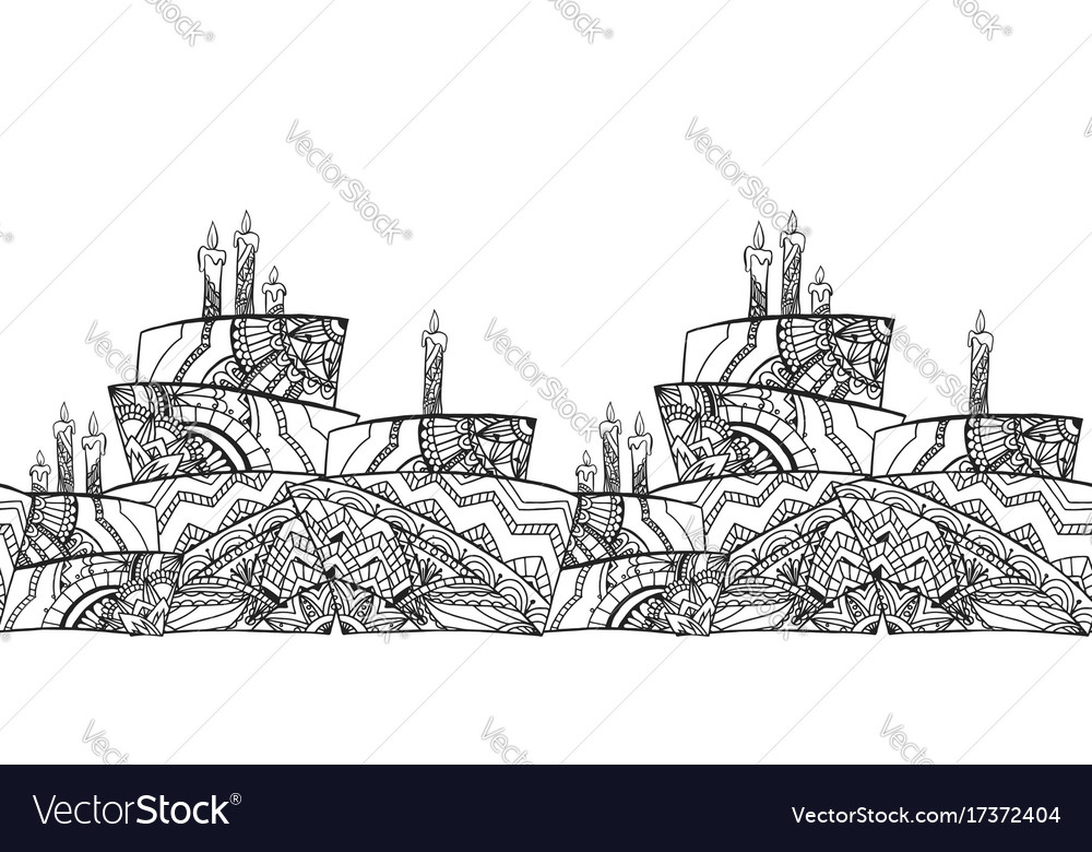 Seamless black and white border with cake vector image