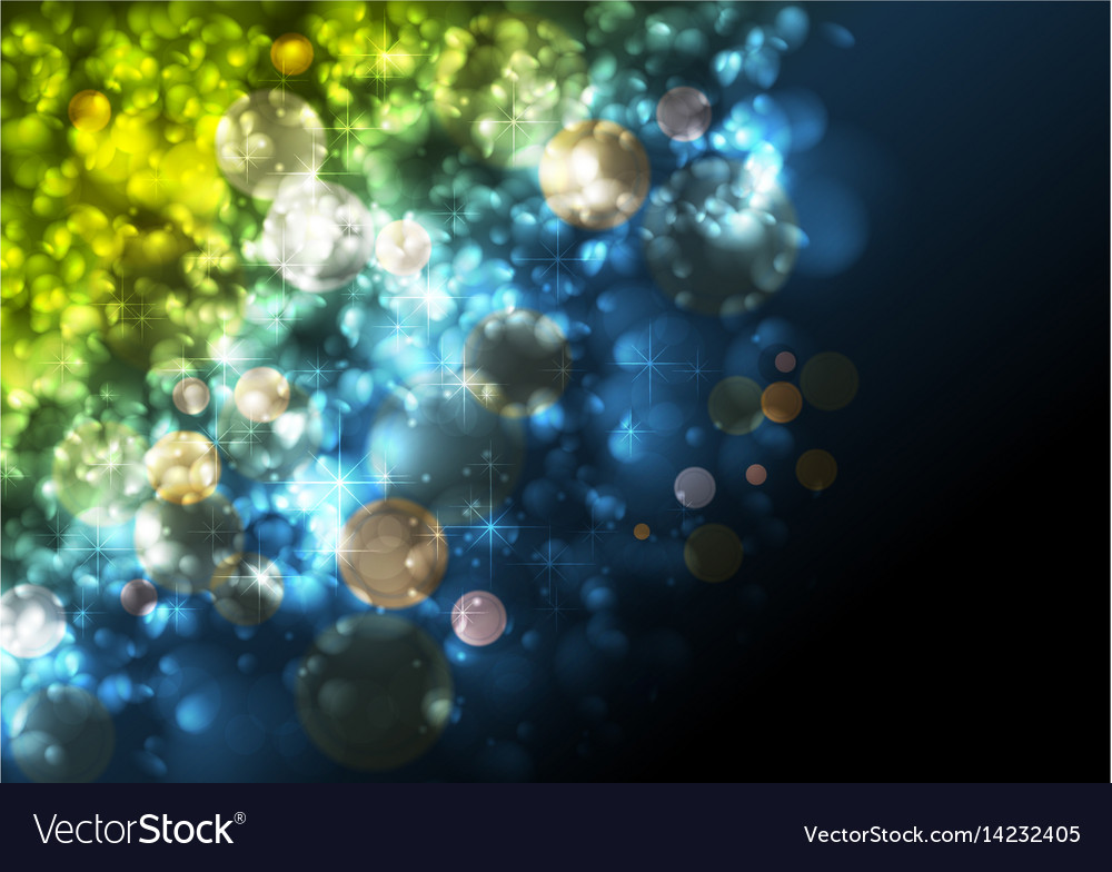 Green and blue festive abstract luminous particles vector image