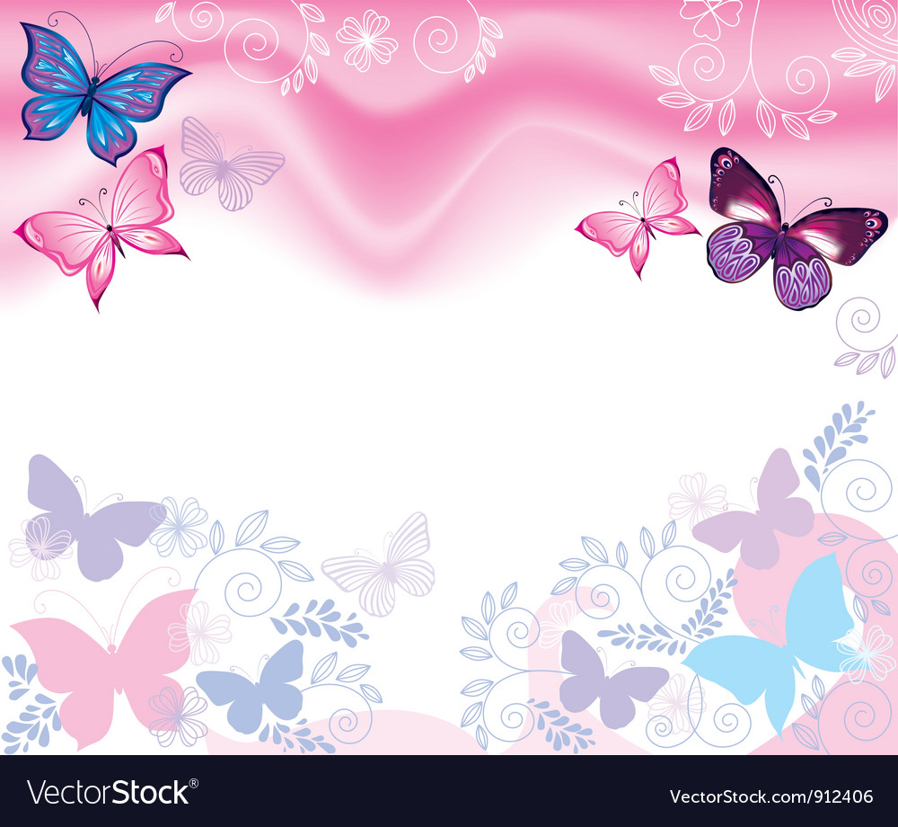 Background With Flowers And Butterflies Royalty Free Vector