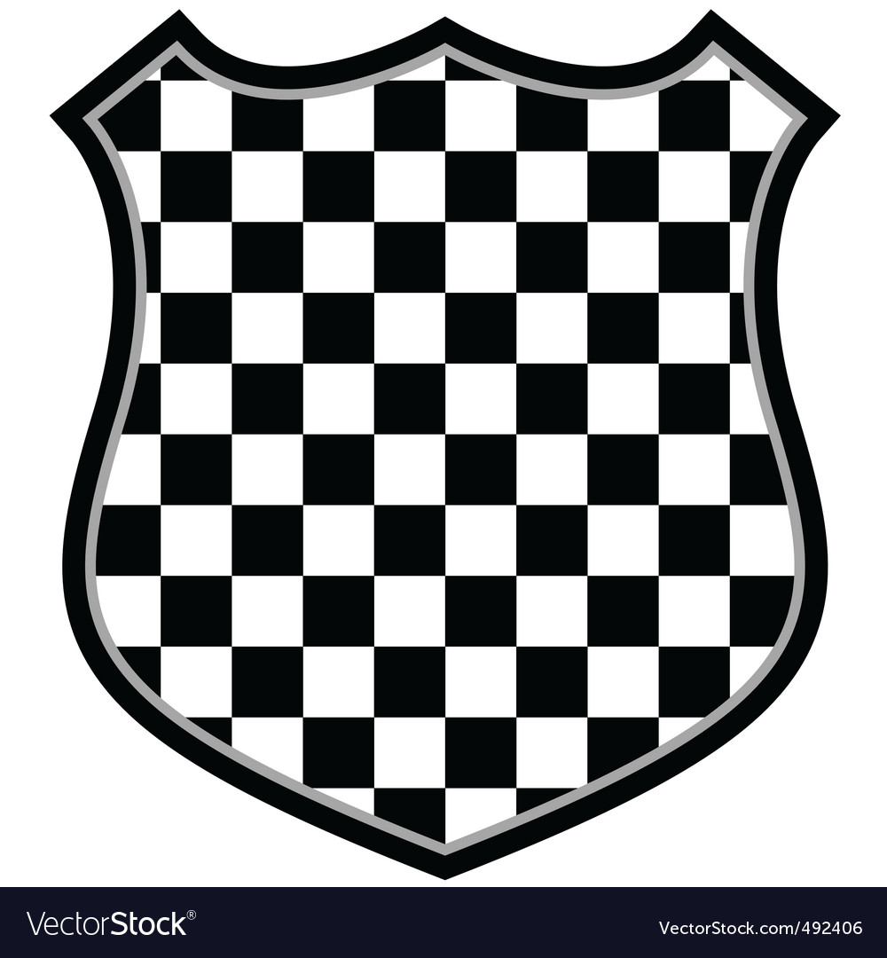 Checkered shield vector image