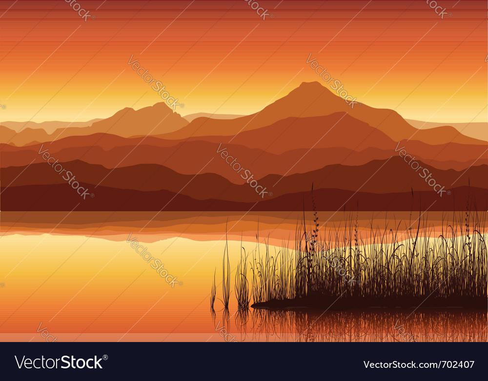 Mountains near lake vector image