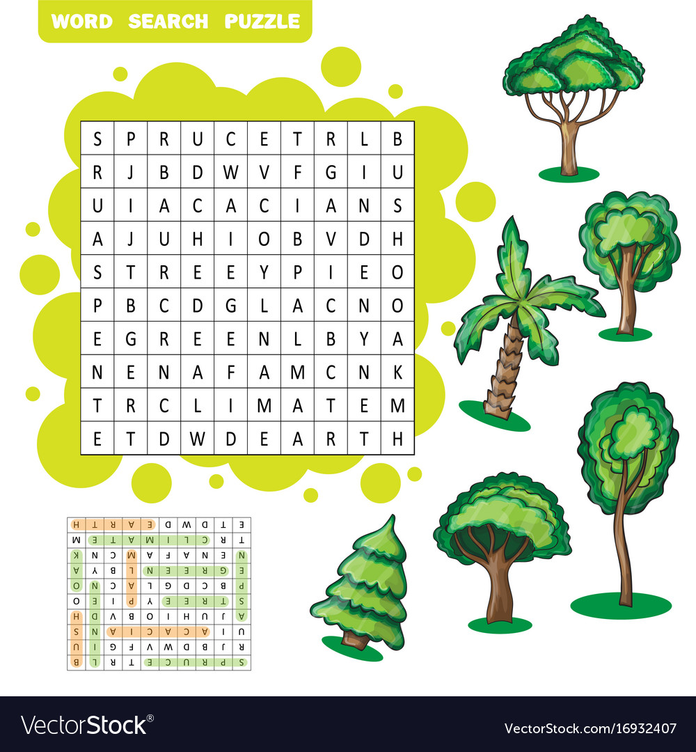 Trees themed word search puzzle vector image