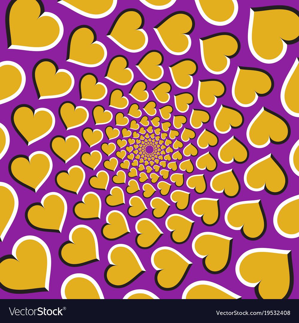 Optical background golden hearts are moving vector image
