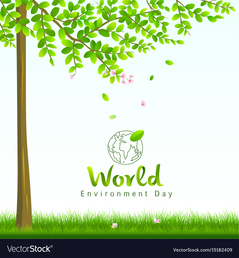 World environment day tree and flower nature vector image
