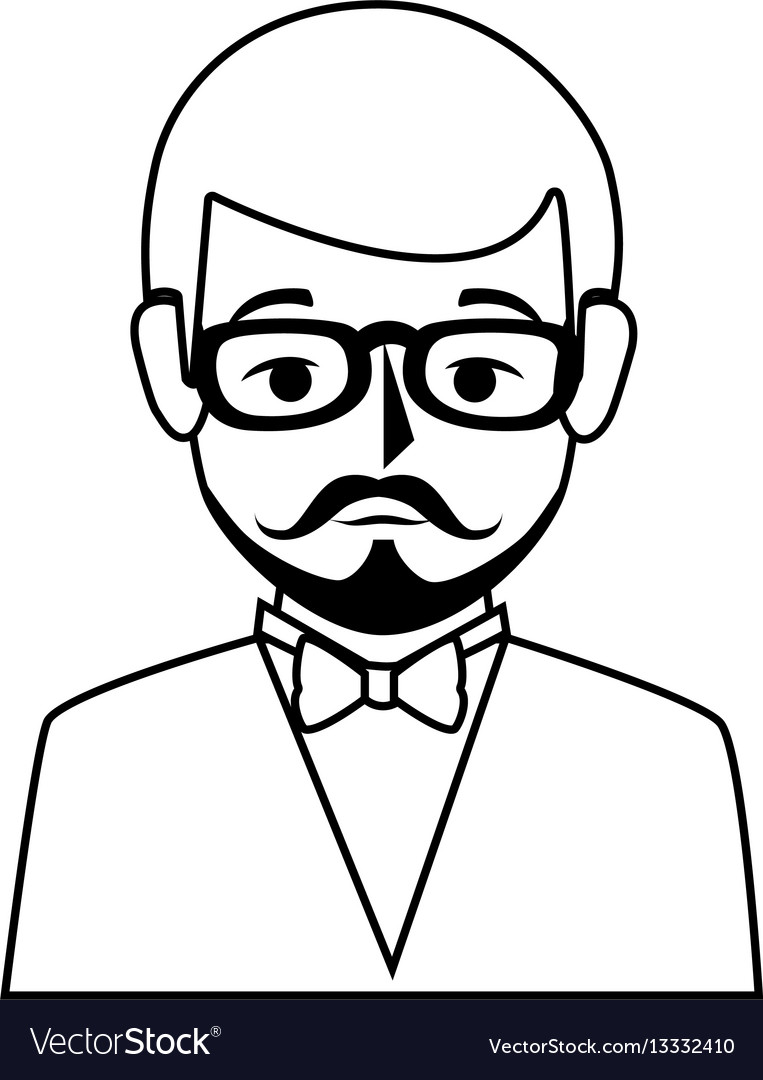 Silhouette half body man formal style with vector image