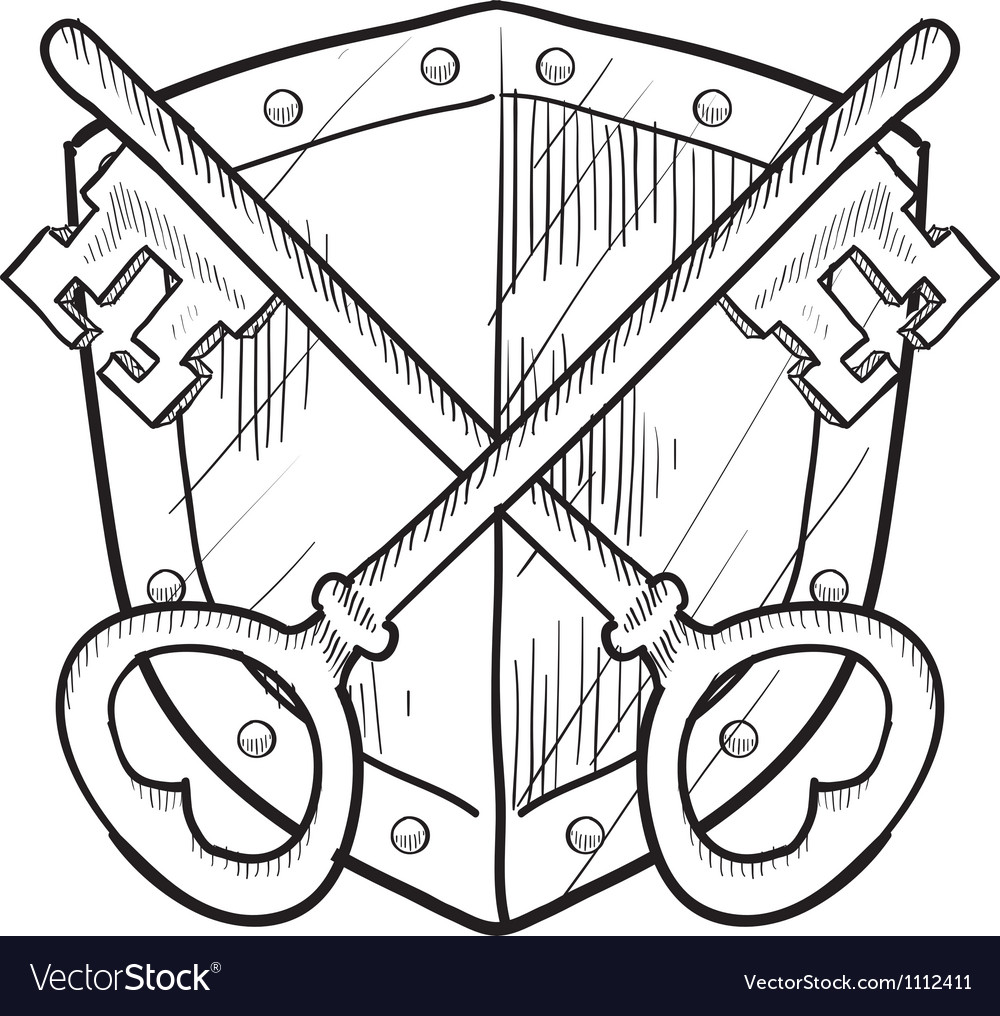 Doodle shield keys safe secure vector image