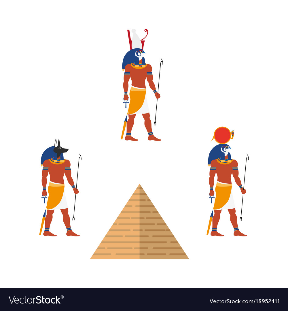 Egypt pyramid and ancient gods ra anubis isis vector image egypt pyramid and ancient gods ra anubis isis vector image biocorpaavc