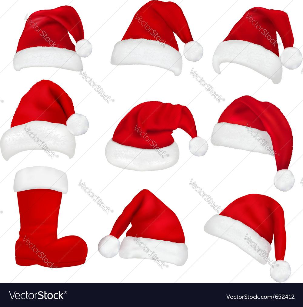 Red santa hats and boot vector image