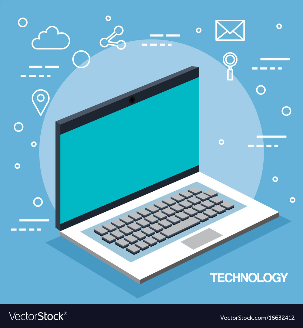 Technology laptop device wireless app icons blue vector image