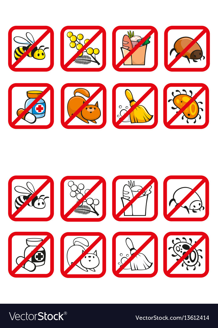 Common allergens warning signs set vector image