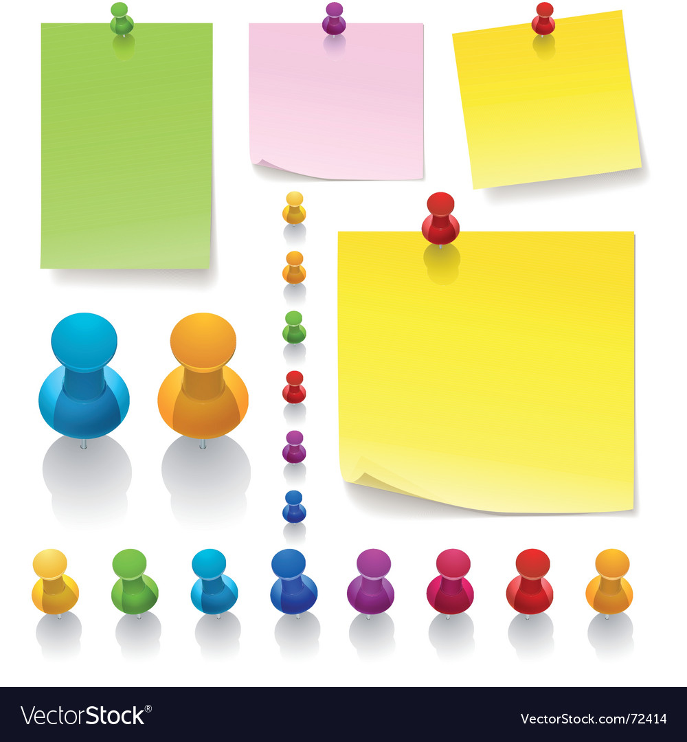Thumb tack notes vector image