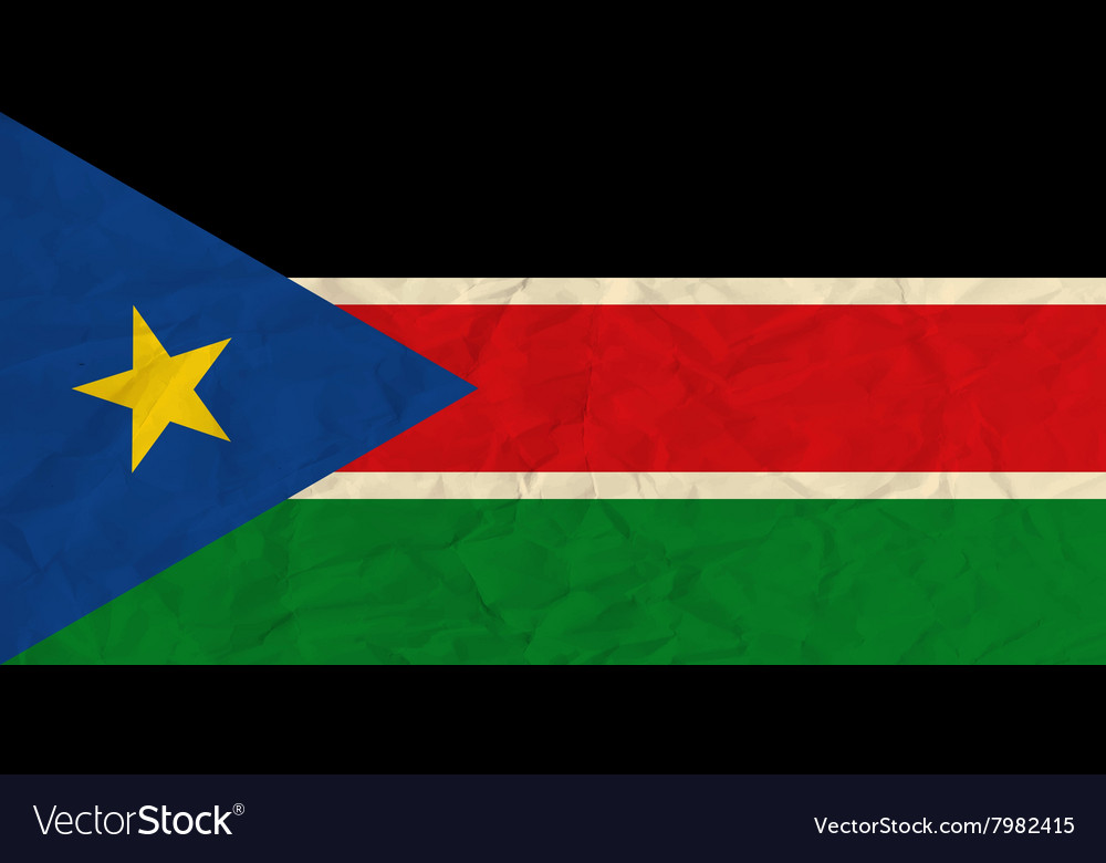South Sudan paper flag vector image