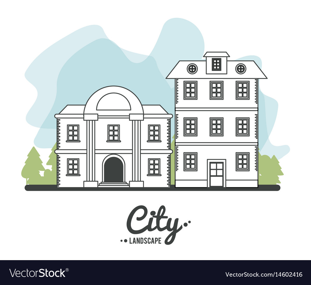City landscape bank and classic house story line vector image