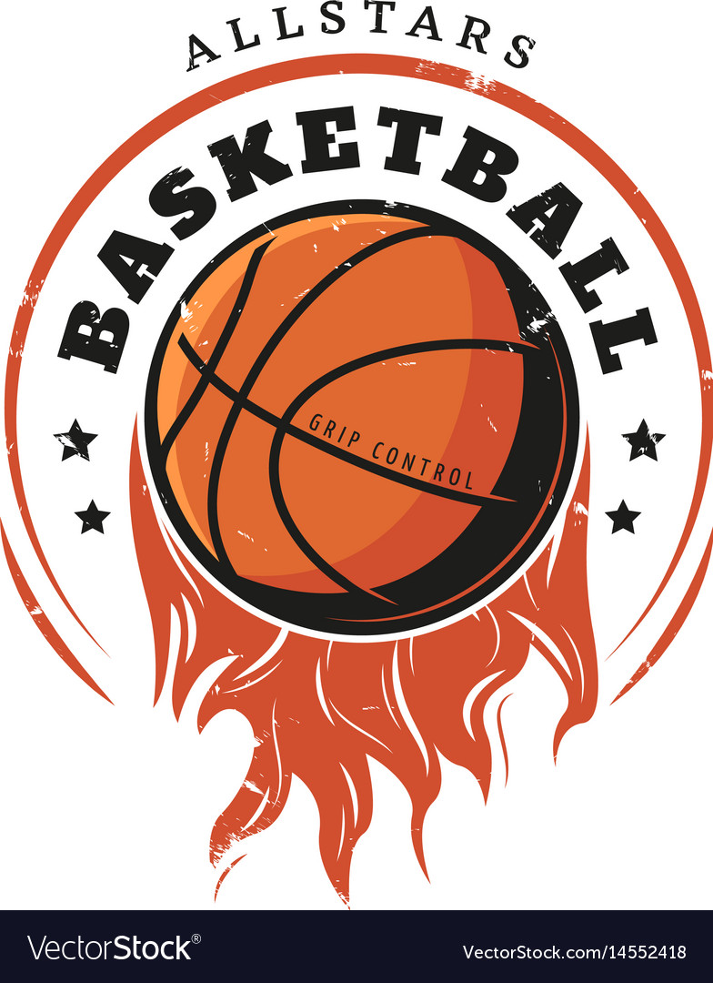 Colored vintage basketball logotype template vector image