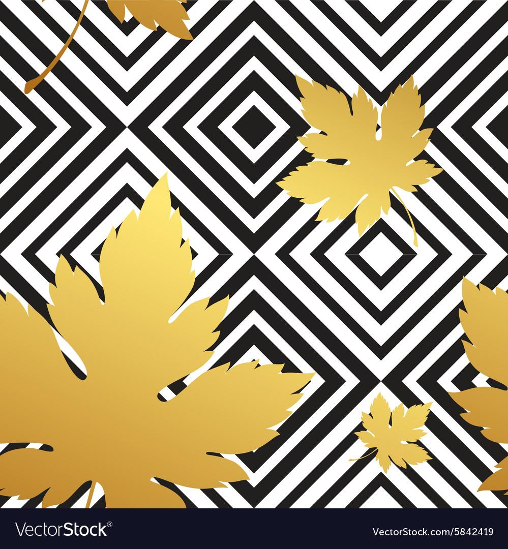 Geometric seamless leaf repeat pattern in black vector image