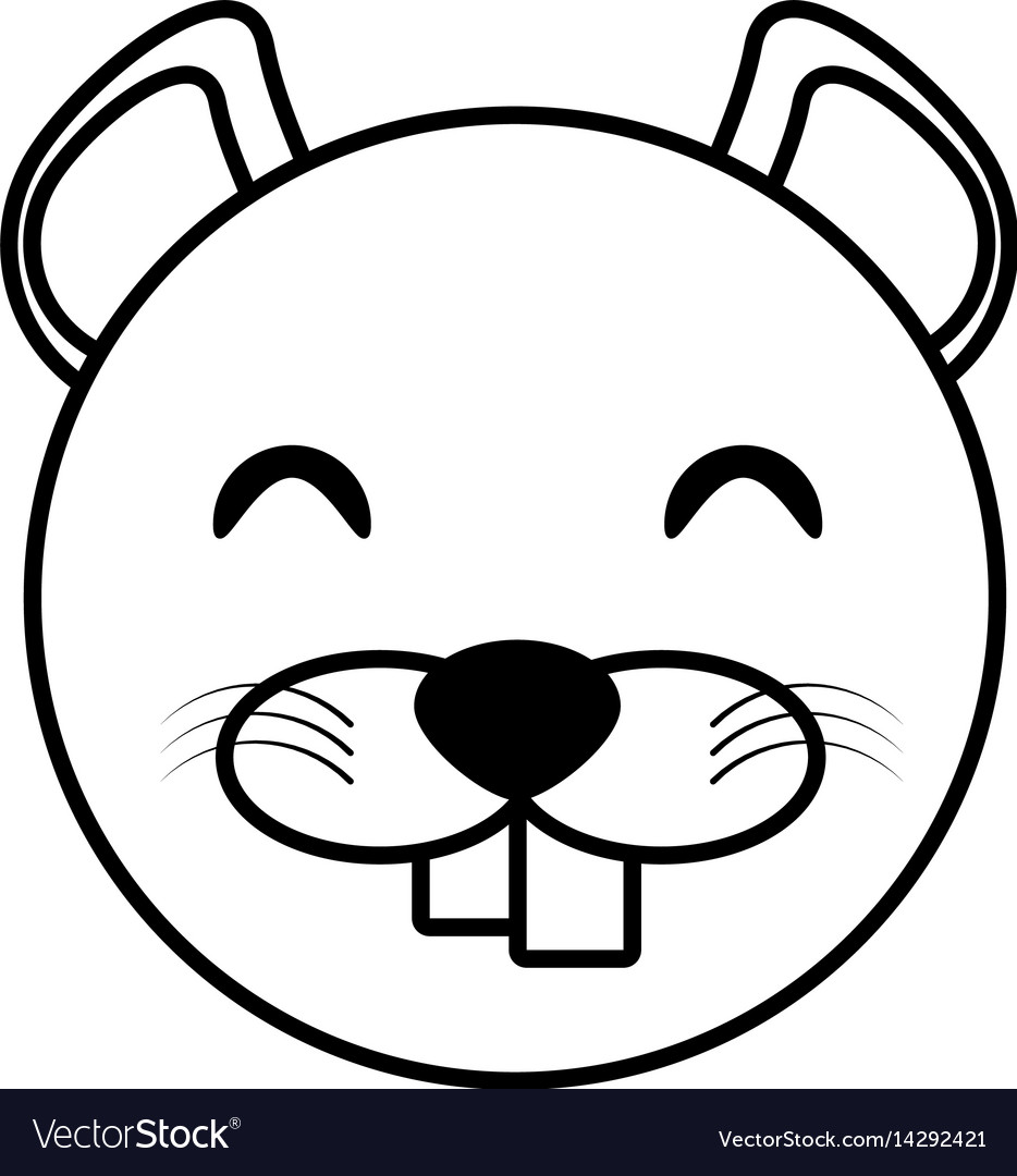 Face beaver animal outline vector image