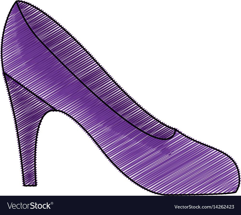 Color pencil drawing of high heel purple shoe vector image