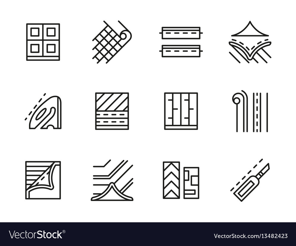 Linoleum black line icons set vector image