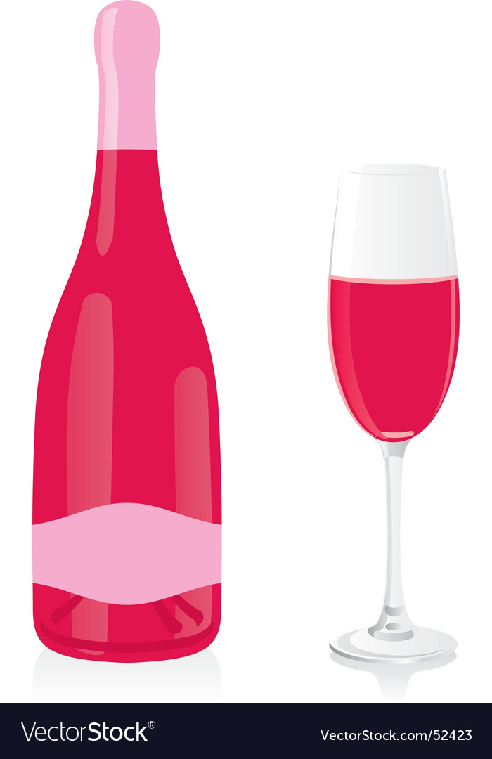 Rose champagne bottle and glass vector image