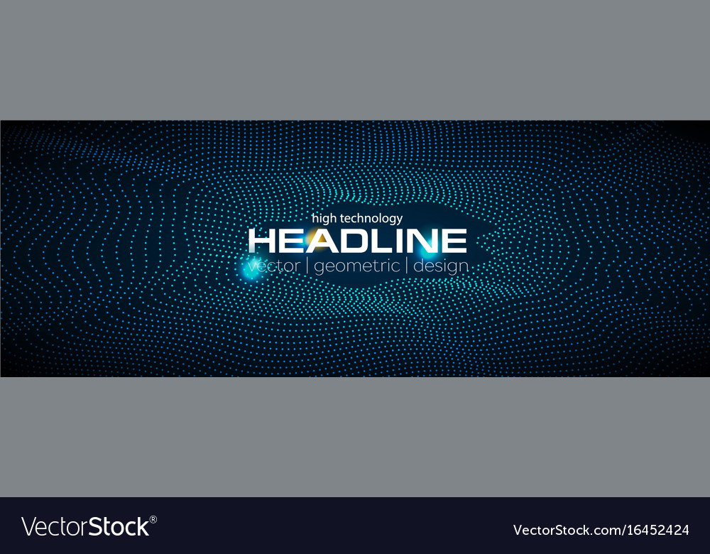 Sci-fi abstract geometric waves tech banner vector image