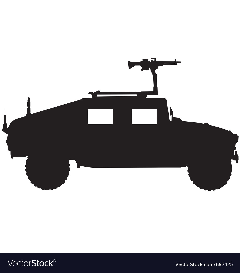 Military 4x4 vehicle silhouette vector image