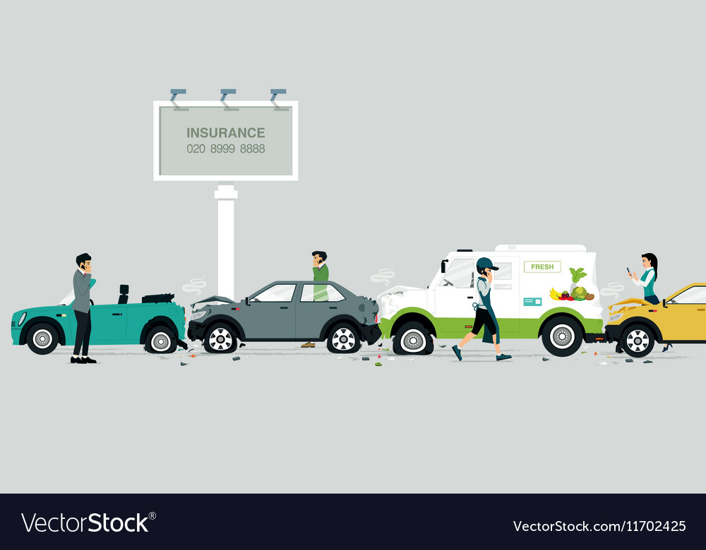 Car crash on the road vector image