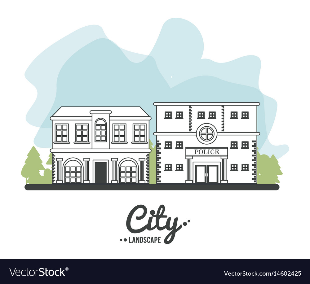 City landscape police building architecture town vector image
